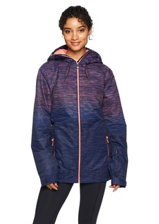 Roxy Snow Junior's Valley Hoodie Snow Jacket Neon Grapefruit_Space Dye Grad S