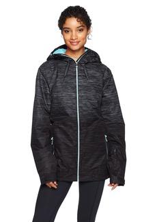 Roxy Snow Junior's Valley Hoodie Snow Jacket True Black_Space Dye Gradient L