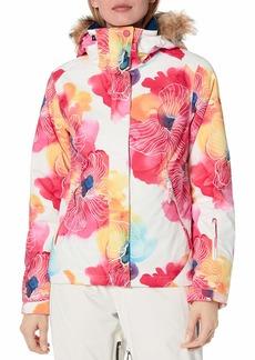 Roxy Junior's Jet Ski Snow Jacket bright white AQUAREL flowers M