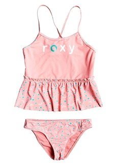 Roxy Splash Party Logo Ruffle Two-Piece Swimsuit (Toddler Girls & Little Girls)