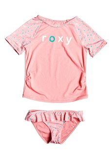 Roxy Splash Party Short Sleeve Rashguard Two-Piece Swimsuit (Toddler Girls & Little Girls)
