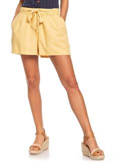 Roxy Steal the Sun Belted Linen Blend Shorts