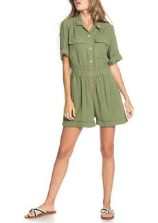 Roxy Summer Rules Short Sleeve Crinkled Cotton Romper