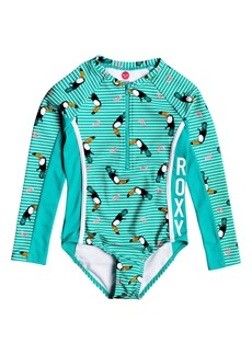 Roxy Toucan Print Logo Rashguard Swimsuit (Toddler Girls & Little Girls)