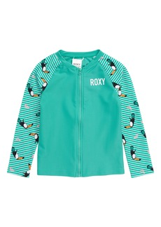 Roxy Toucan Print Long Sleeve Rashguard (Toddler Girls & Little Girls)