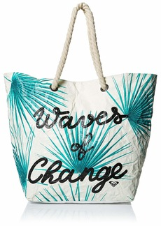 Roxy Waves of Changes Recycled Paper Beach Tote marshmallow