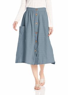 Roxy Women's Feather Dance Button Front Mid Length Skirt  XL