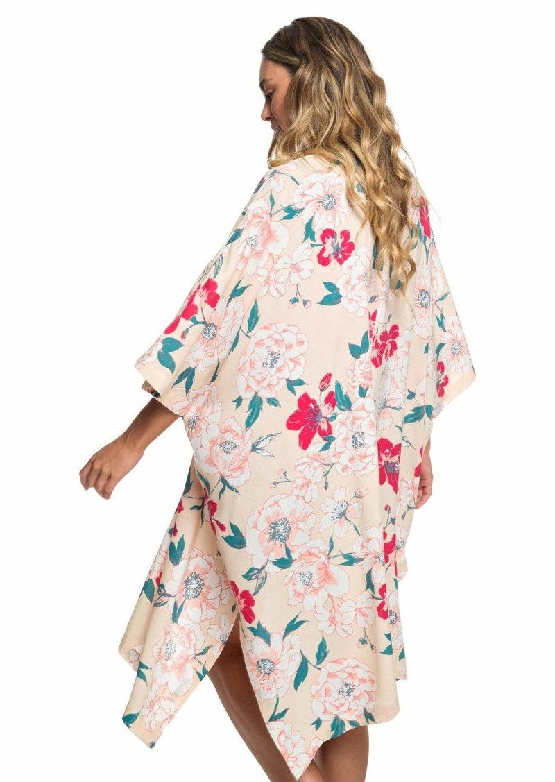Roxy Women's Fringe and Flower 3/4 Sleeve Kimono Ivory Cream New