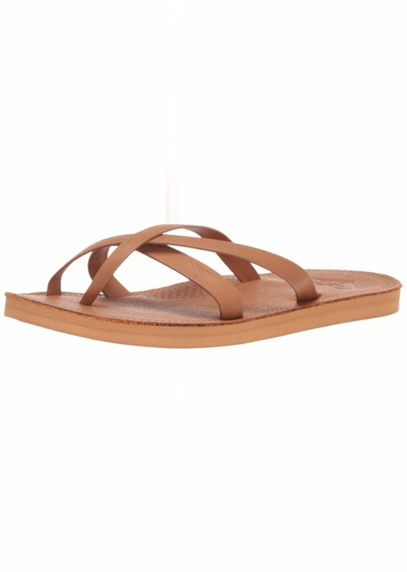 Roxy Women's Gemma Leather Sandal tan  Medium US