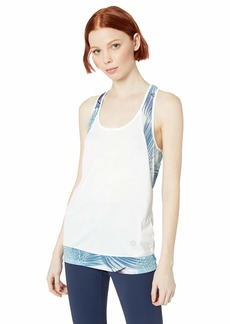 Roxy Women's Liquid Sunshine Workout Tank Top bright white palms FITNESS L