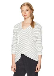 Roxy Women's Lovely Aside Stripe Hooded Knit Top Marshmallow Coast S