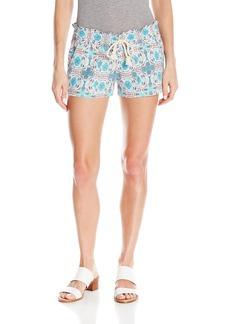 Roxy Women's Oceanside Printed Beach Shorts Elastic Waist arshmallow Land of Tehotihuacan
