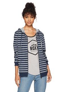 Roxy Women's Trippin Stripe Zip up Fleece Sweatshirt Dress Blues Signature Stripe ERJFT03597 L