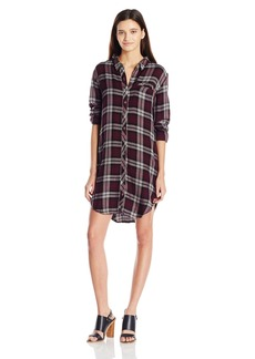 Roxy Junior's Woodwork Long Sleeve Button up Plaid Dress