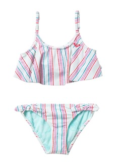 Roxy X Disney Ariel Treasure Stripe Flutter 2-Piece Swimsuit (Big Girls)