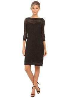 rsvp 3/4 Sleeve Metallic Chevron Dress with Beaded Neckline