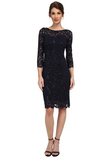 rsvp 3/4 Sleeve Stretch Lace Dress with Sequins