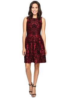 rsvp Martina Pleated Fit and Flare Flocked Dress