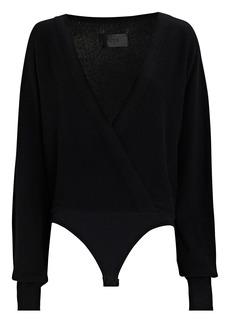 RtA Alya Knit Cashmere Wrap Bodysuit