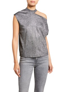 RtA Axel Metallic Cutout Shirt  Silver