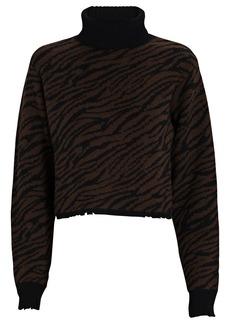 RtA Beau Zebra Turtleneck Cashmere Sweater