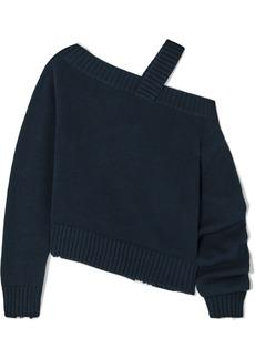 RtA Beckett Asymmetric Off-the-shoulder Cotton Sweater