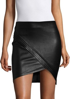 RtA Blossom Mini Leather Faux Wrap Skirt