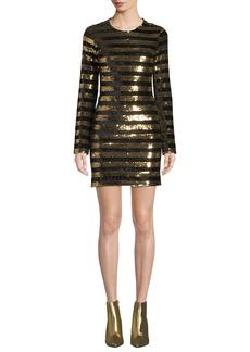 RtA Crystal Sequined Velvet Long-Sleeve Dress
