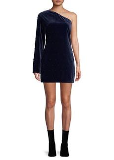 RtA Edie One-Shoulder Velvet Mini Dress