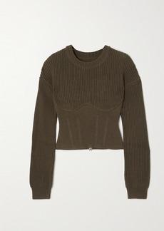 RtA Fitz Paneled Ribbed Cotton Sweater