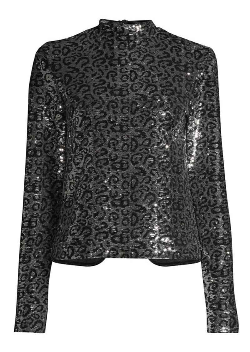 Freddie Long-Sleeve Shoulder-Pad Sequin Leopard Top