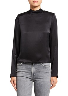 RtA Freddie Satin Mock-Neck Zip-Back Shirt
