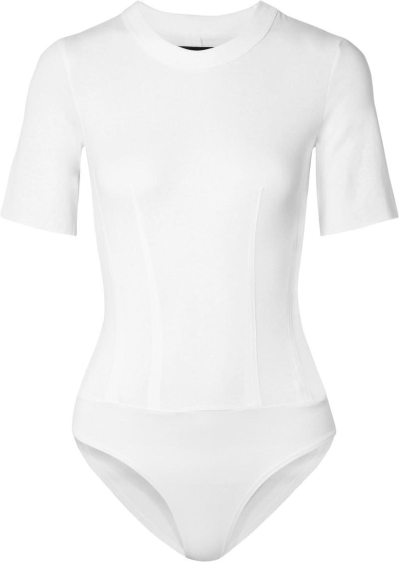 RtA Jasper Zip-embellished Cotton-jersey Bodysuit