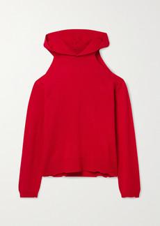 RtA Juno Cold-shoulder Distressed Cashmere Hoodie