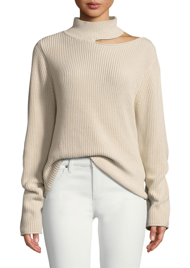 RtA Langley Cutout Cotton Turtleneck Sweater