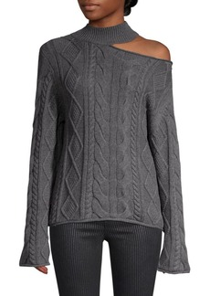 RtA Langley One-Shoulder Cable Knit Sweater