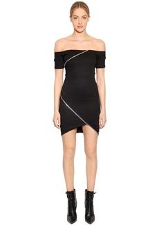 RtA Lilou Zips Stretch Cotton Mini Dress