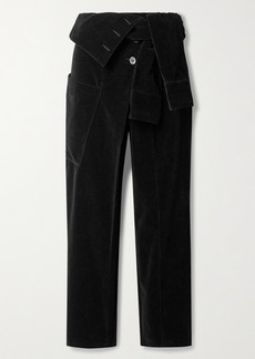 RtA Margot Cropped Cotton-velvet Tapered Pants