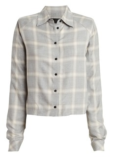 RtA Maxine Plaid Button Front Blouse
