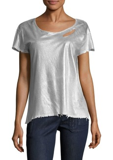 RtA Nicola Metallic Cotton & Cashmere Distressed Tee