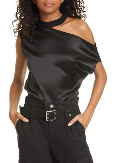 RtA Axel Cutout One Shoulder Silk Satin Top
