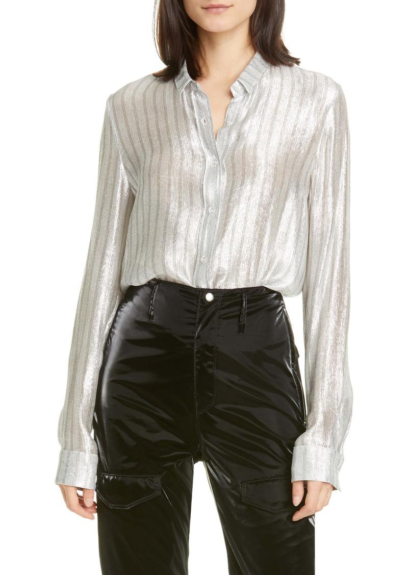 RtA Blythe Stripe Silk Blend Lamé Shirt