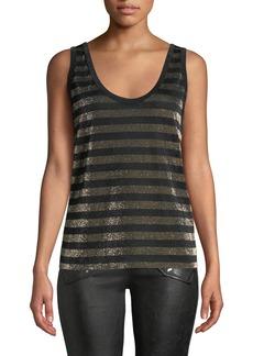 1158f46af95ee RtA Colton Striped Scoop-Back Metallic Top