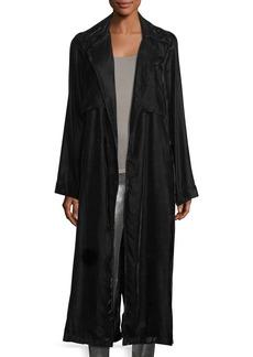 RtA Denim Karina Long-Sleeve Velvet Robe Duster