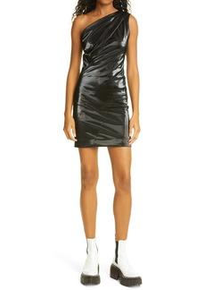 RtA Denim One-Shoulder Faux Leather Body-Con Dress