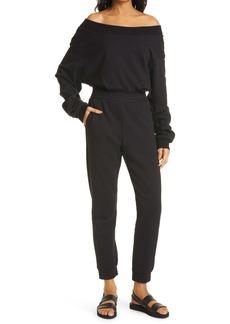 RtA Giovanni Off the Shoulder Long Sleeve Cotton Fleece Jogger Jumpsuit