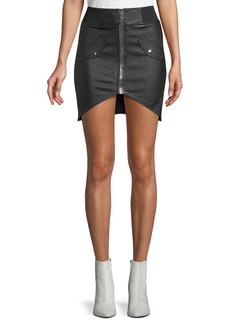RtA Isla Lambskin Leather Zip-Front Mini Skirt