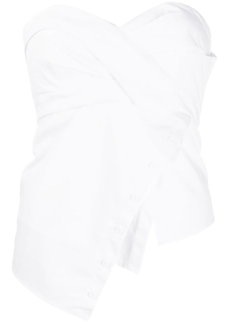 RtA asymmetric side buttoned strapless top