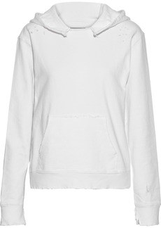 Rta Woman Ainsley Distressed French Cotton-terry Hoodie White