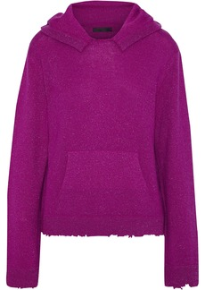 Rta Woman Ainsley Distressed Metallic Cashmere Hooded Sweater Violet